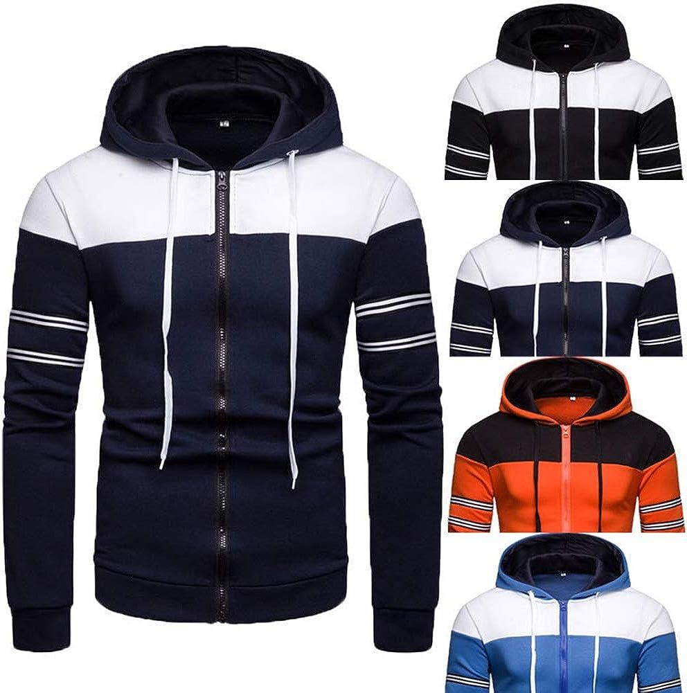 Eveliyning Men Teens Spring Long Sleeve Contrast Color Stripe Hoodies Zipper 18-24T Color : Orange, Size : M