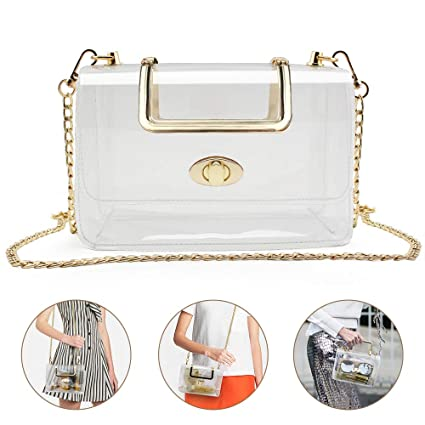 4313b65ba01c Clear Purse for Women/Girls, Coromay Clear Crossbody Bag NFL & PGA Stadium  Approved, Clear Gameday Purse with Removable Golden Chain Strap, ...