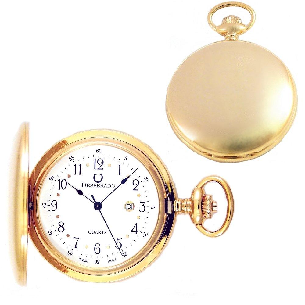 Desperado Roosevelt Gold Plated Pocket Watch with Swiss Made Quartz Movement