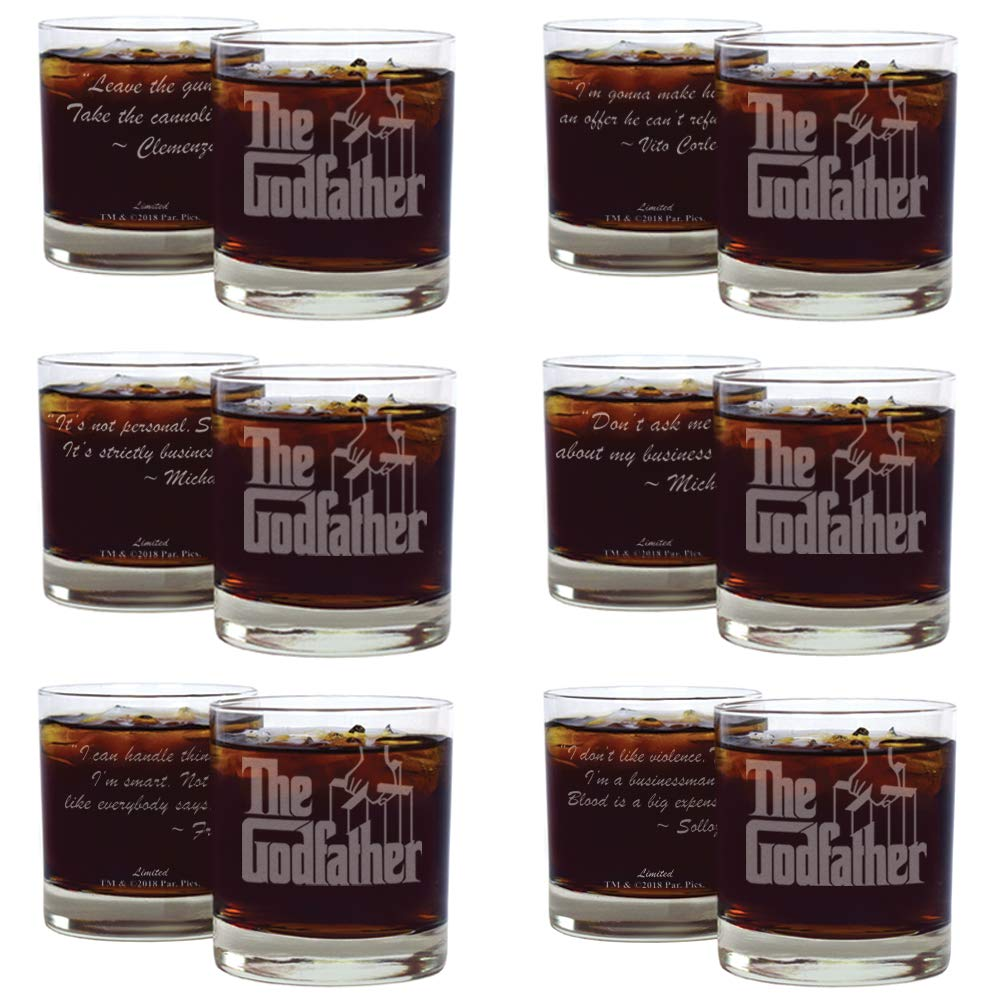 Movies On Glass - Set of Six Whiskey Glasses With Six Unique Godfather Quotes Premium Etched The Godfather Movie Engraved Logo with Most Popular Godfather Movie Quotes
