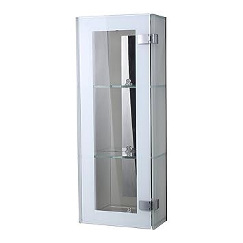 Attrayant HOMCOM Wall Mounted Glass Cabinet Mirror Back, 2 Shelves Display Unit  Storage Cupboard Bathroom Organizer