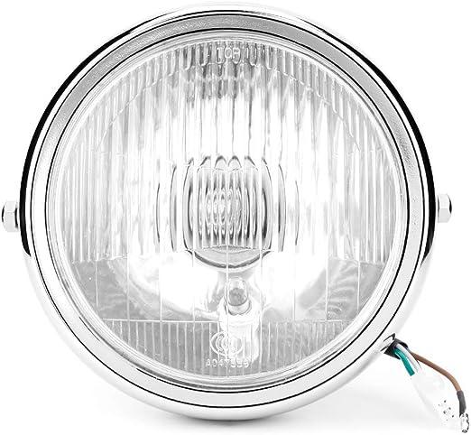 moto universel r/étro argent Shell blanc lentille phare phare avant pour GN125 Phare avant de moto