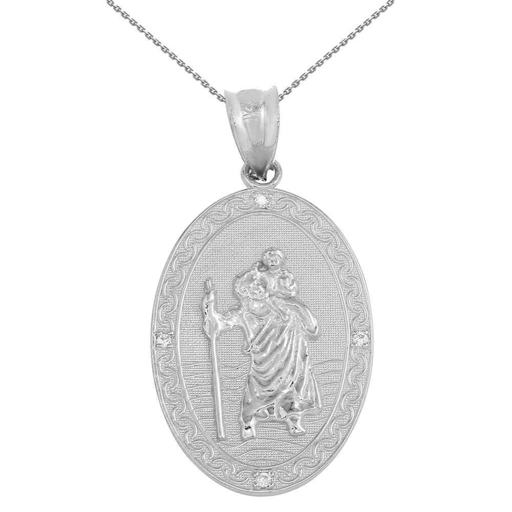925 Sterling Silver Saint Christopher CZ Oval Medal Protection Necklace 1.12