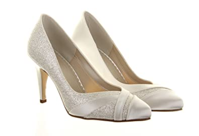 Ivory Dyeable Wide Fit Shimmer Bridal Shoe, Mila, High Heel Bridal ...