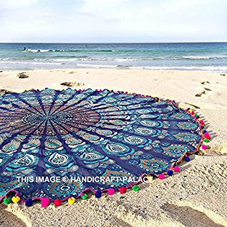 LONGXJA Bohemian Beach Mandala Round Hippie Tapestry Throw ...