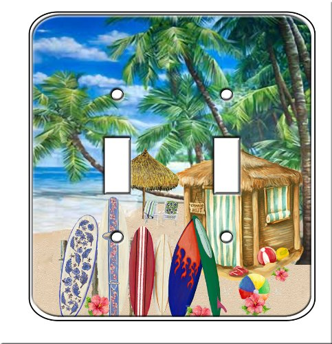 Surfing Switchplate (Surfboards Surfing Beach Wall Double Toggle Switch Plates (Double Toggle))