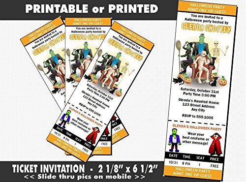 Costume Party Halloween Party Ticket Invitation, Printable or Printed Option -