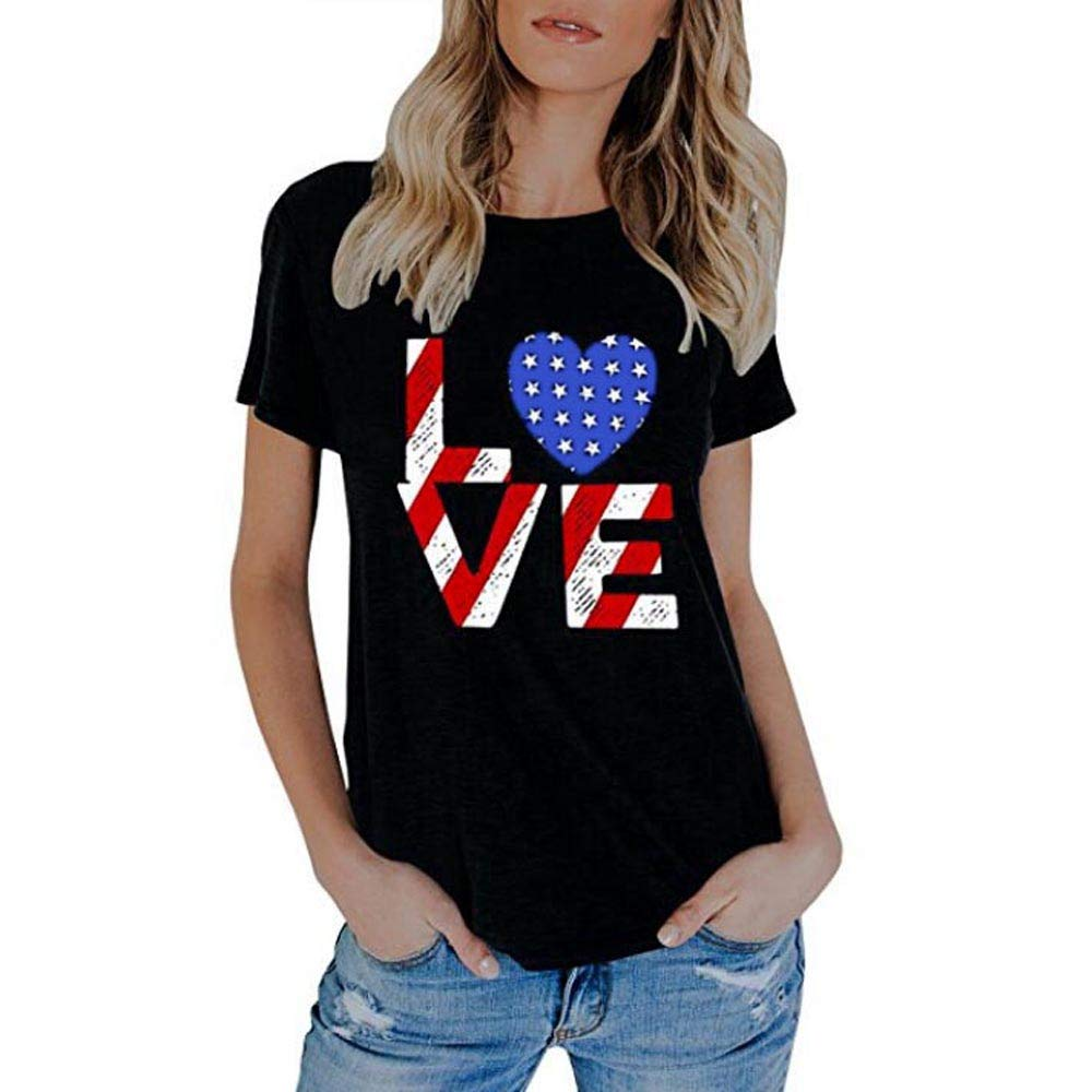 Bravetoshop T-Shirts for Women,Independence Day Casual Love Print Short Sleeve Blouse Tee