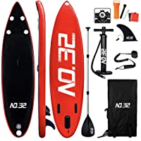 NO. 32 10ft / 3m Inflatable Stand Up Paddle Board | Inflatable SUP Board Beginner's Surfboard Kit w/Adjustable Paddle | Air Pump w/Pressure Guage | Repair Kit | Premium Leash & Carry Backpack