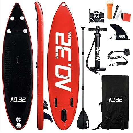 Tabla Hinchable de Paddle Surf + SUP Paddle Remo de Ajustable | Bomba | Mochila | Aleta Central Desprendible | Kit de Reparación y La Cinta para Atar ...
