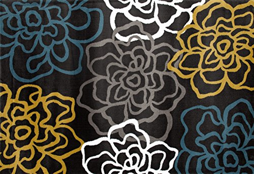 Rugshop Contemporary Modern Floral Flowers Area Rug, 2' x 3', Yellow/Gray