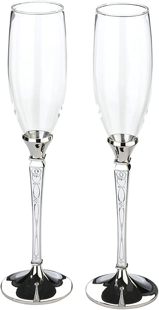 Lillian Rose Set Of Tall Flutes Black Long Drinking Glasses Wine Champagne Water