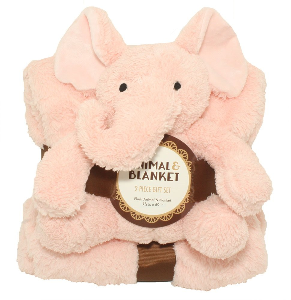 Silver One Sherpa Plush Stuffed Animal and Throw Blanket 2 Peice Gift Set for Kids/Children | 50'' x 60'' Soft Plush Throw | Get Well Gifts Light Pink Elephant