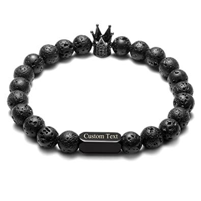 CrystalTears 8mm Couple Distance Bracelets Crown King & Queen Charm for Men Women, White Howlite and Lava Stone Diffuser Beads