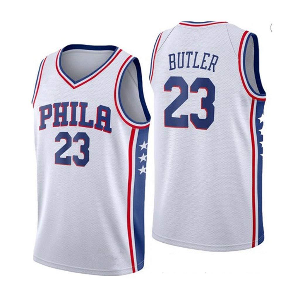 WAZ Camiseta Baloncesto NBA City Edition 76ers # 23 Butler Basketball Chaleco Sin Mangas De Algod/óN De Cuatro Colores De La Camiseta Deportiva,Blue,S