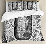 Letter U Queen Size Duvet Cover Set by Ambesonne, Uppercase U Character in Grey Tones Retro Sign Coin Style Industrial Background, Decorative 3 Piece Bedding Set with 2 Pillow Shams, Black Grey