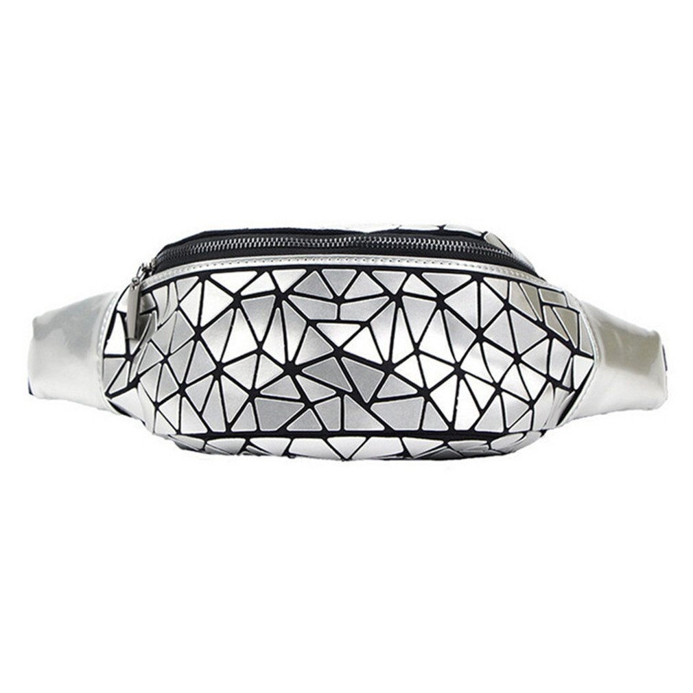 kingsamal Waist Bag Fanny Pack Women Belt Bag Geometry Sequin Holographic Silver A