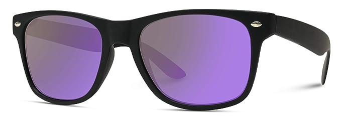2d1f312d9a Premium Square Style Mirrored Lens Sunglasses (Black Frame Flashing Purple  Lens