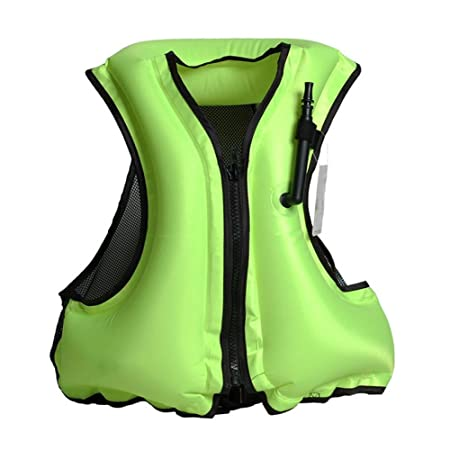 Aolvo Snorkeling Vest Portable Inflatable Zipper Life Jacket Swim Safety  Load For 66-220lbs Men Women Boys Girls Green  Amazon.co.uk  Kitchen   Home 056411e56