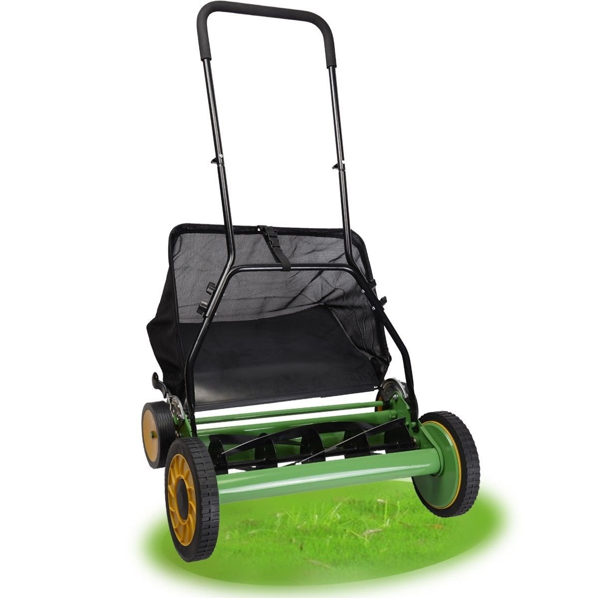 20'' Classic Hand Push Lawn Mower 10'' And 6'' Dual Tracking Wheels And Rugged Rubber Tires