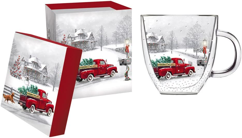 Cypress Home Beautiful Christmas Winter Truck Double Wall Glass Café Cup - 5 x 4 x 5 Inches Indoor/Outdoor home goods For Kitchens, Parties and Homes