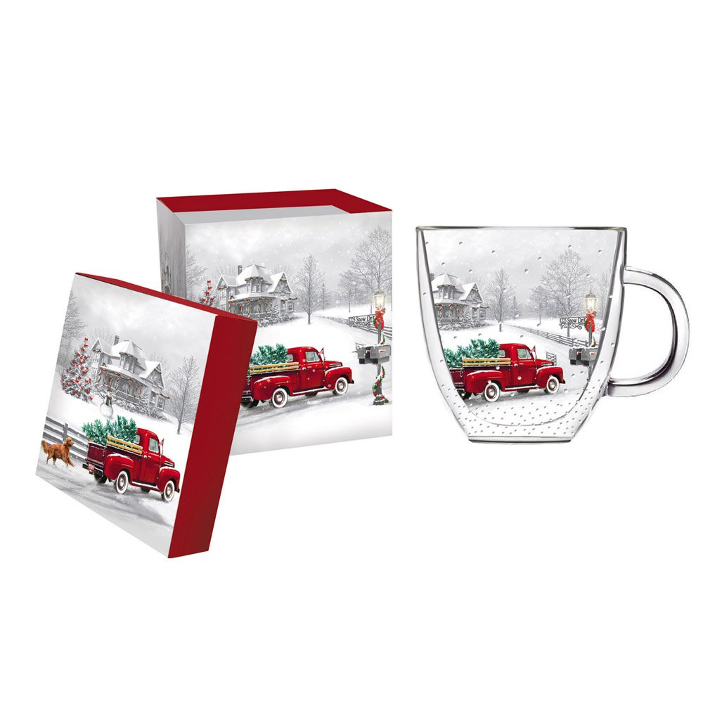 Cypress Home Winter Truck Glass Coffee Cup with Gift Box, 12 ounces