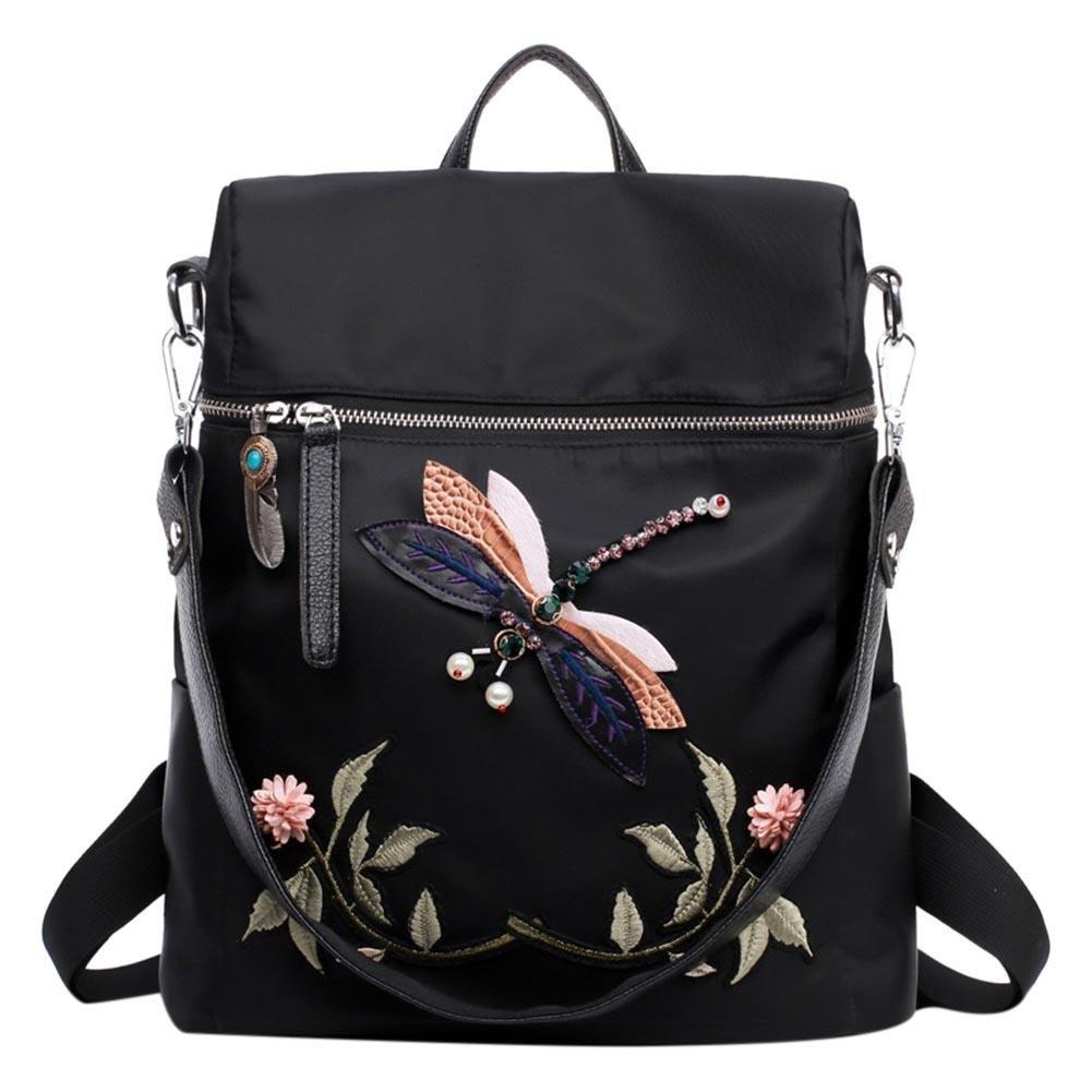 Gowind7 Women Fashion Backpack Nylon School Bag Shoulder Bag Leisure 3D Dragonfly Flower Embroidery Print Dayback(Black)