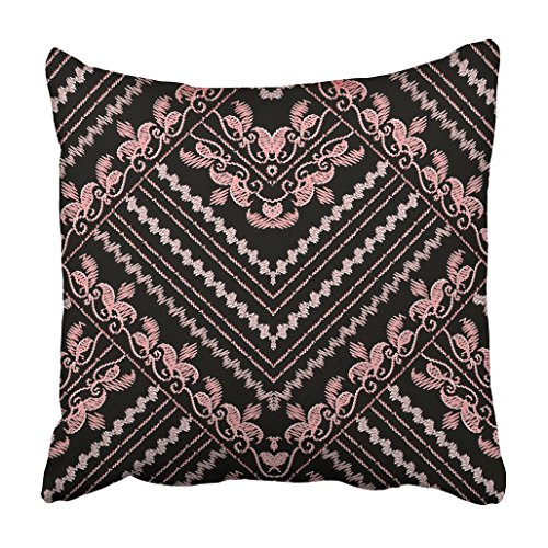 Emvency Throw Pillow Cover Polyester 16x16 Inch Decorative Embroidery Floral Gold Black With Vintage Embroidered Pink Flowers Swirl Leaves Zigzag Deco Cushion Pillowcase Print Sofa Home