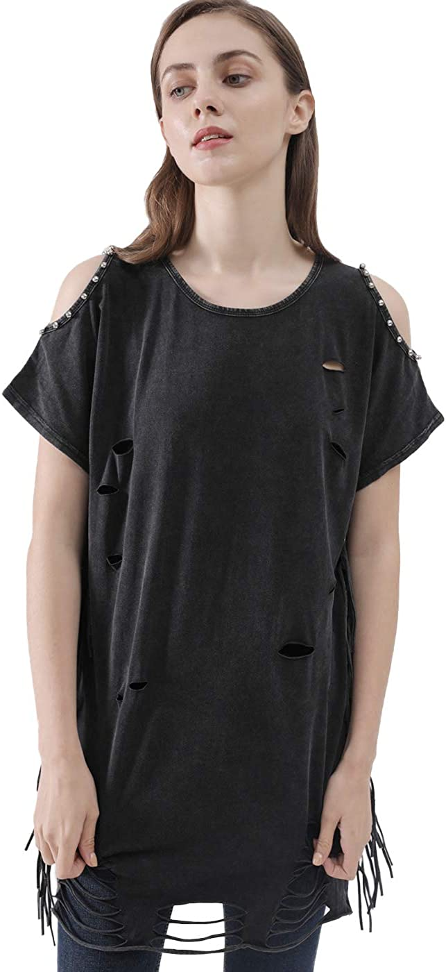 Fringed Tunic Top Tassels Oversized Distressed Tassels Black One Size Stretchy