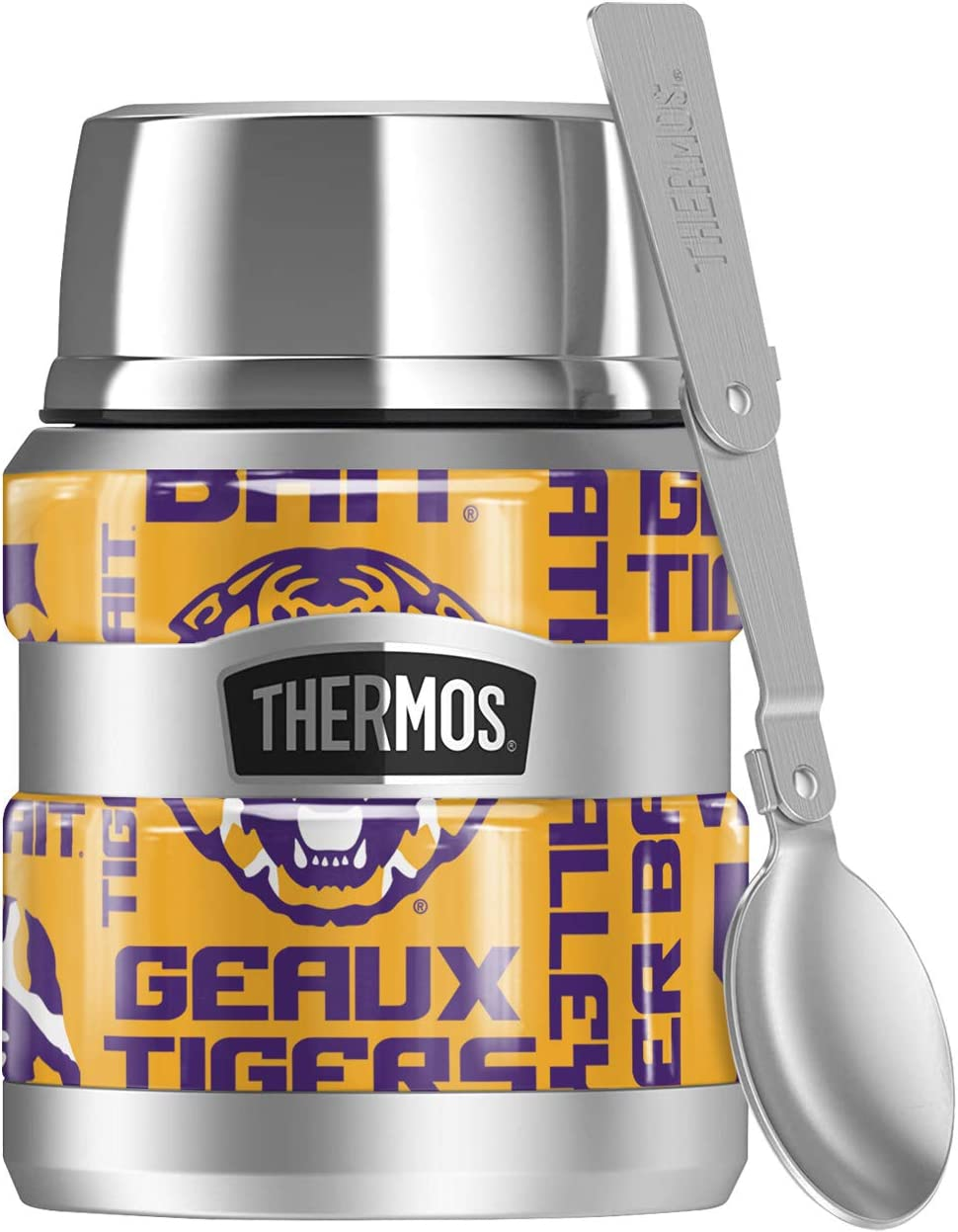 LSU Tigers, Spirit Pattern THERMOS STAINLESS KING Stainless Steel Food Jar with Folding Spoon, Vacuum insulated & Double Wall, 16oz