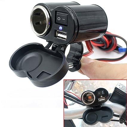 Cargador de motocicleta USB Dazone® con enchufe al encendedor de cigarrillos enchufe USB 12V enchufe de motocicleta para teléfono móvil GPS MP3