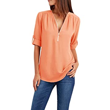 Amazon.com: Fzitimx - Camisa de manga corta para mujer, de ...