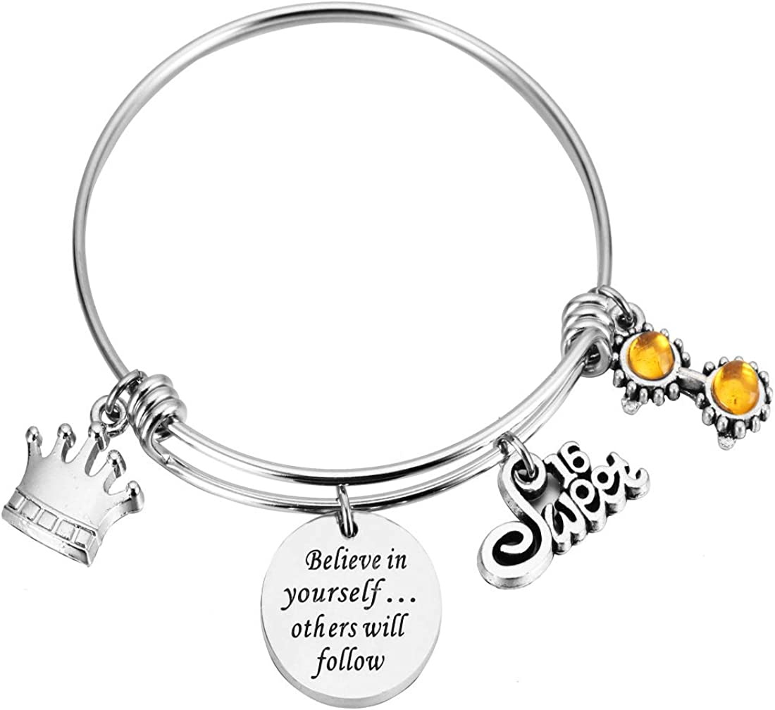 REEBOOO Birthday Bracelet Birthday Gifts13th Sweet 16 18th 21st Believe in Yourself Inspiration Bracelet