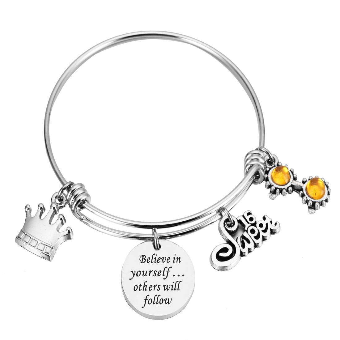 REEBOOO Birthday Bracelet Birthday Gifts13th Sweet 16 18th 21st Believe in Yourself Inspiration Bracelet