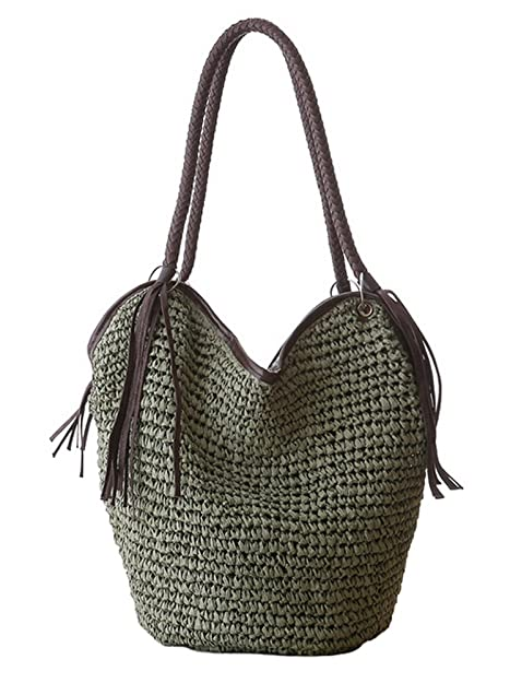 efabf712a6e7 Tonwhar Paper String Woven Bag Large Capacity Beach Bag Leisure Shoulder  Tote