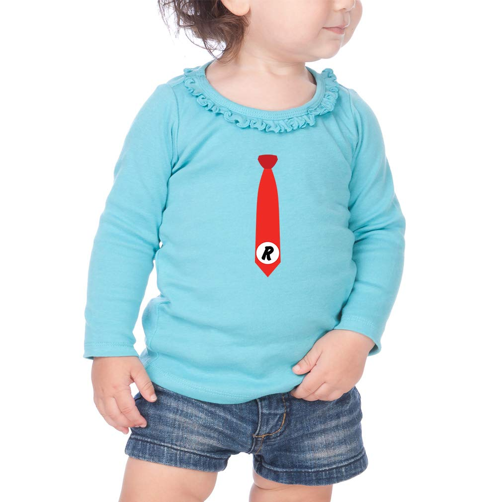 Personalized Custom Red Tie Cotton Girl Toddler Long Sleeve Ruffle Shirt Top