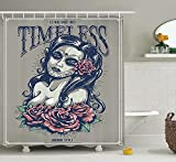 KANATSIU Tattoos on Gril Face Roses Lady Witch Woman Timeless Sign Art Shower Curtain 12 Plastic Hooks,100% Made Polyester,Mildew Resistant & Machine Washable,Width x Height is 72x72