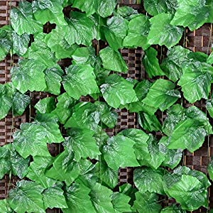 Vine Leaves, 90.5 Feet Artificial Fake Hanging Vine Plant Leaves Ivy Plant Garland Hanging Used for Garden Wall Decoration Parties Grapevine,12 Strip 66