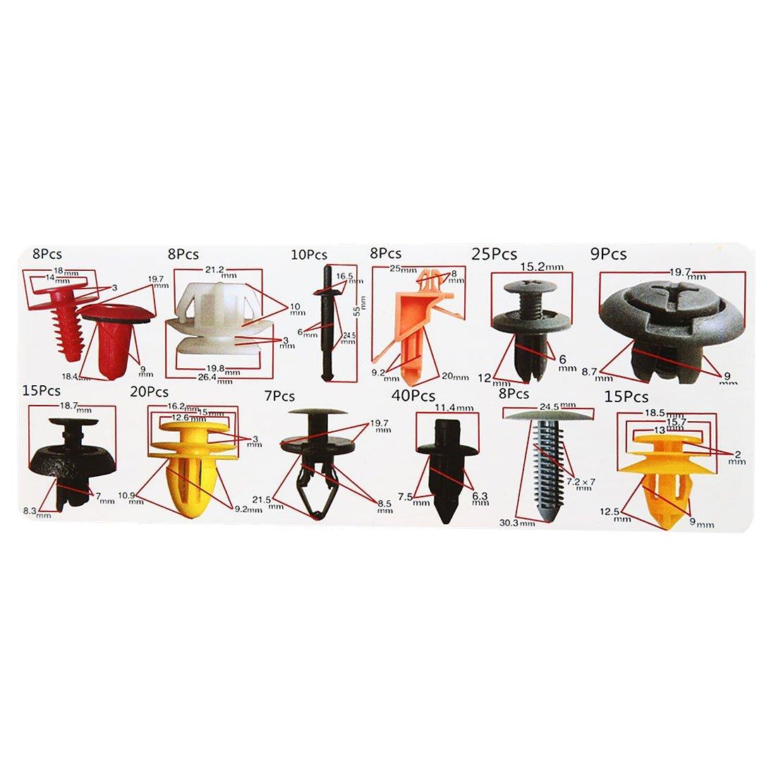 Amazon.com: eDealMax 173 piezas DE 12 Tipo Tornillo, Remache parachoques Fender Splash retenedores Clips Set: Automotive
