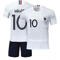 TUUT Maillots de Sport Garçon Football T-Shirt et Short France 2 Étoiles Vêtements de Football Beau Populaire pour Enfant Garçon -