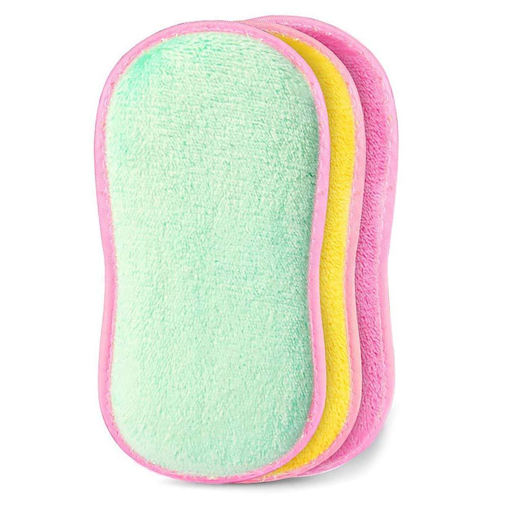 spugnette da cucina in microfibra, doppio lato per strofinare spugne paglietta Dish scrubber spazzola per lavare casseruole pentole ciotola Jane Choi