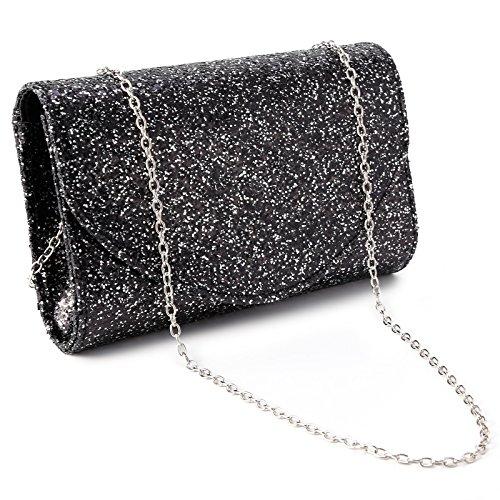 Shiny Wedding Womens Evening Handbag Black Purse Bag Glitter PU Envelope Bridal Anladia Clutch 5xZqOpHww