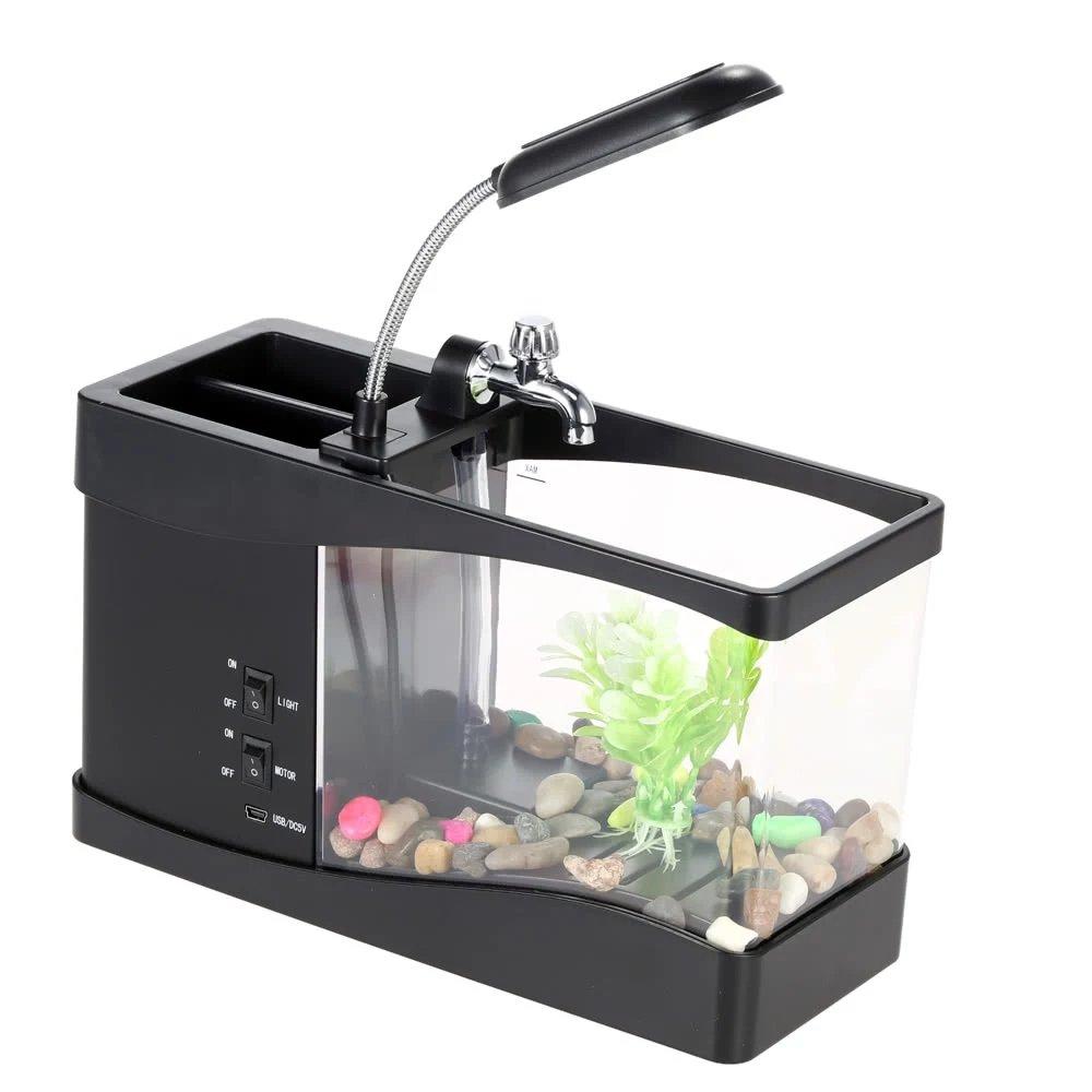 Ayans Mini Desktop USB Fish Tank Aquarium Water Running with LED Light LCD Display Screen and Calendar Clock for Home,Office Decoration