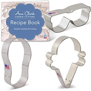 product image for Ann Clark Cookie Cutters 3-Piece Summer Fun Cookie Cutter Set with Recipe Booklet, Flip Flop, Sunglasses, Ice Cream Cone