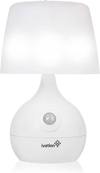 Ivation 12-LED Battery Operated Motion Sensing Table Lamp - Dual Color Range - Available Settings Include Manual & Automatic Motion & Light Sensing, White