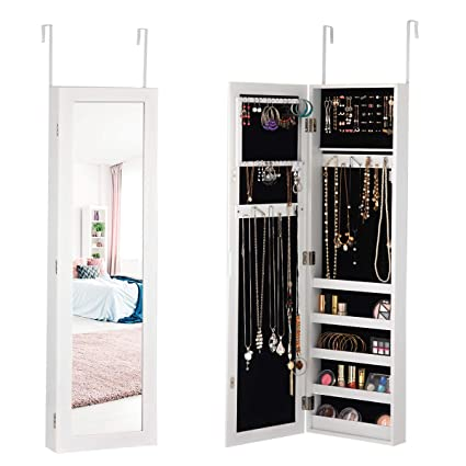 Superbe Giantex Mirrored Jewelry Cabinet Door Wall Mounted Armoire Bedroom Large  Storage Full Length Mirrored Organizer 5