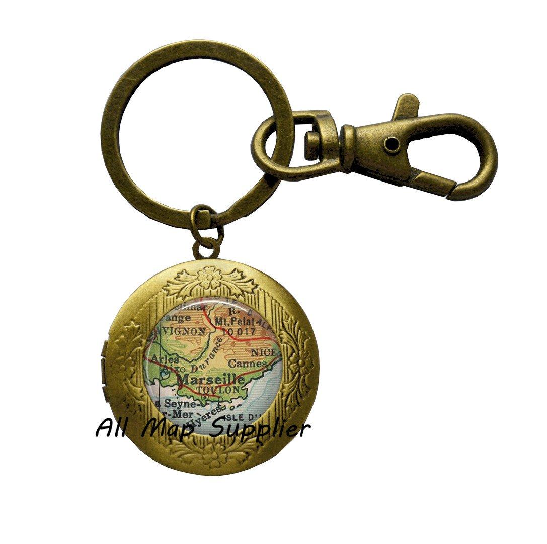 Encantador llavero de camafeo de Marsella Mapa Lock, llavero ...