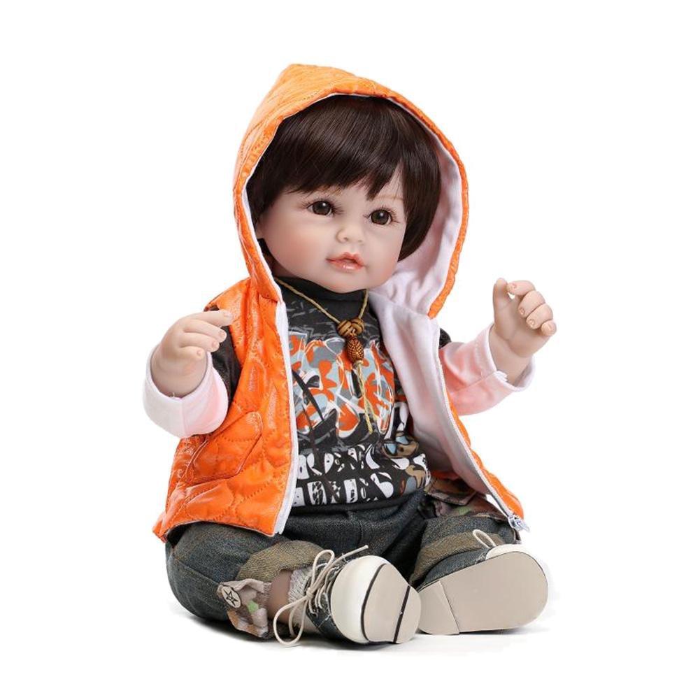 DomyBeste 55 cm Reborn Boy Baby Silikon Puppe Simulation Kid Schlafen Playmate Spielzeug