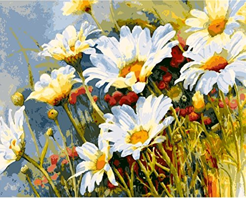 JynXos Paint by Number Kits for Adults Kids - Chrysanthemum Daisy 16x20 inch Linen Canvas (Daisy Framed)