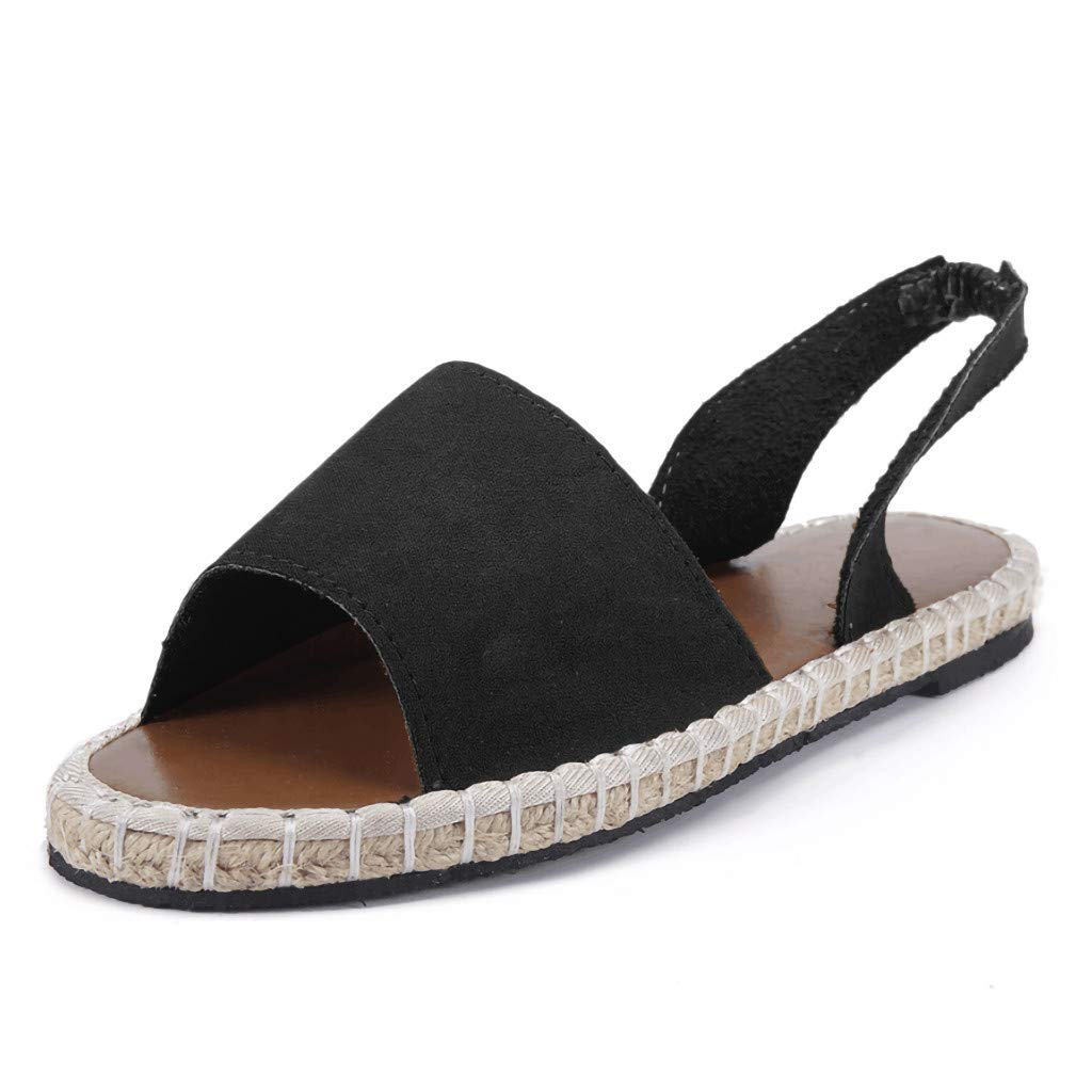 Thenxin Summer Retro Women's Ankle Strap Slippers Flat Sandals Ladies Beach Roman Shoes (Black,8 US)